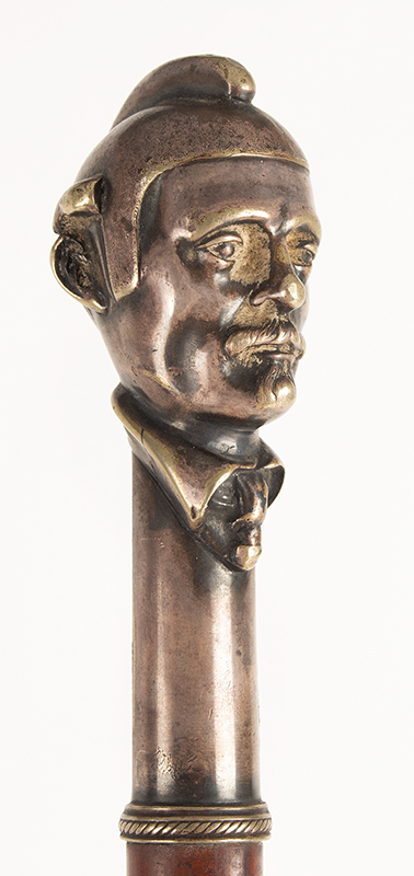 Antique Cane, Figural Walking Stick, Mustached Man Wearing Helmet Unknown Maker, Anonymous Portrait  Silver Plated Copper, head detail 1