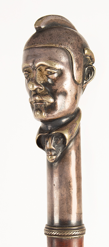 Antique Cane, Figural Walking Stick, Mustached Man Wearing Helmet Unknown Maker, Anonymous Portrait  Silver Plated Copper, head detail 2