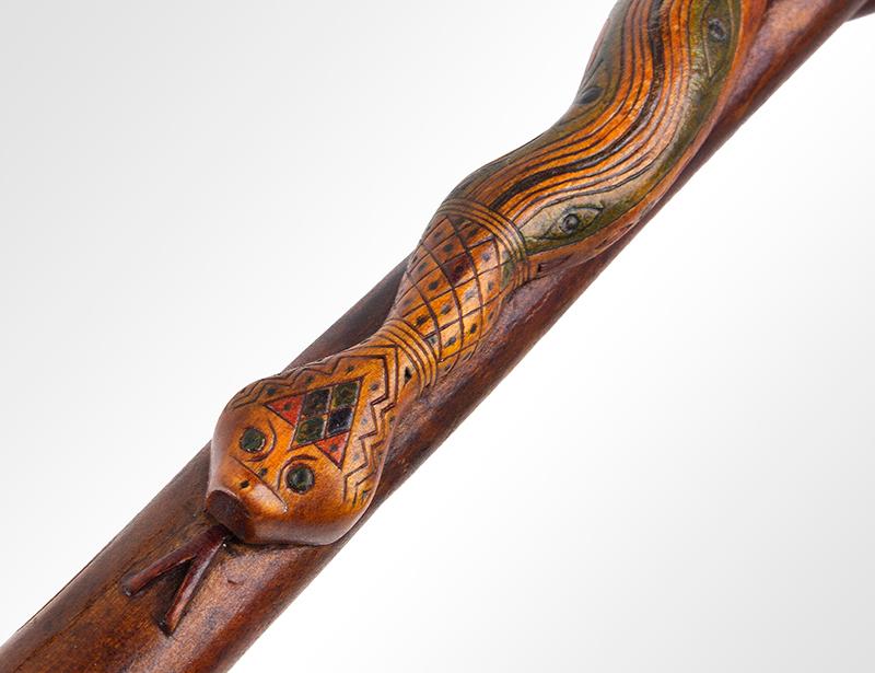 Folk Art, Rare Prisoner of War Walking Sticks, Pair, Husband & Wife Canadian, circa 1915-1916 Carved, and impressed, original polychrome paint, J detail view 1