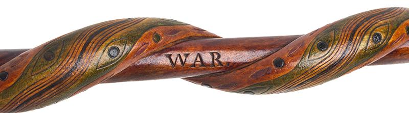 Folk Art, Rare Prisoner of War Walking Sticks, Pair, Husband & Wife Canadian, circa 1915-1916 Carved, and impressed, original polychrome paint, J detail view 5