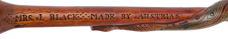 Folk Art, Rare Prisoner of War Walking Sticks, Pair, Husband & Wife Canadian, circa 1915-1916 Carved, and impressed, original polychrome paint, Mrs J detail view 1