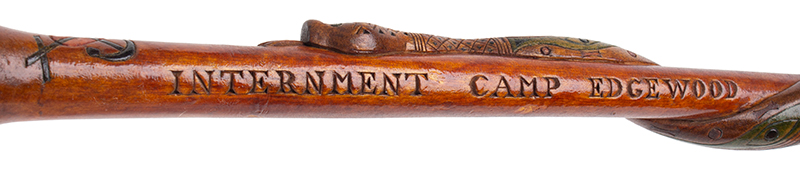Folk Art, Rare Prisoner of War Walking Sticks, Pair, Husband & Wife Canadian, circa 1915-1916 Carved, and impressed, original polychrome paint, Mrs J detail view 3