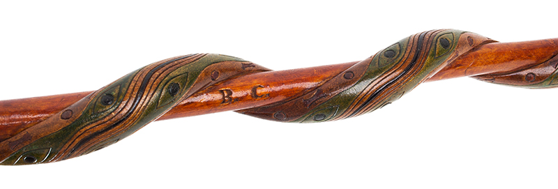 Folk Art, Rare Prisoner of War Walking Sticks, Pair, Husband & Wife Canadian, circa 1915-1916 Carved, and impressed, original polychrome paint, Mrs J detail view 4