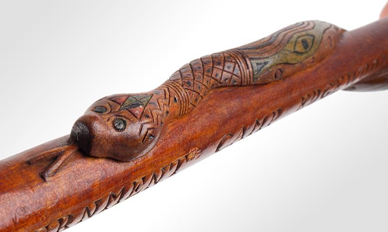 Folk Art, Rare Prisoner of War Walking Sticks, Pair, Husband & Wife Canadian, circa 1915-1916 Carved, and impressed, original polychrome paint, Mrs J detail view 6