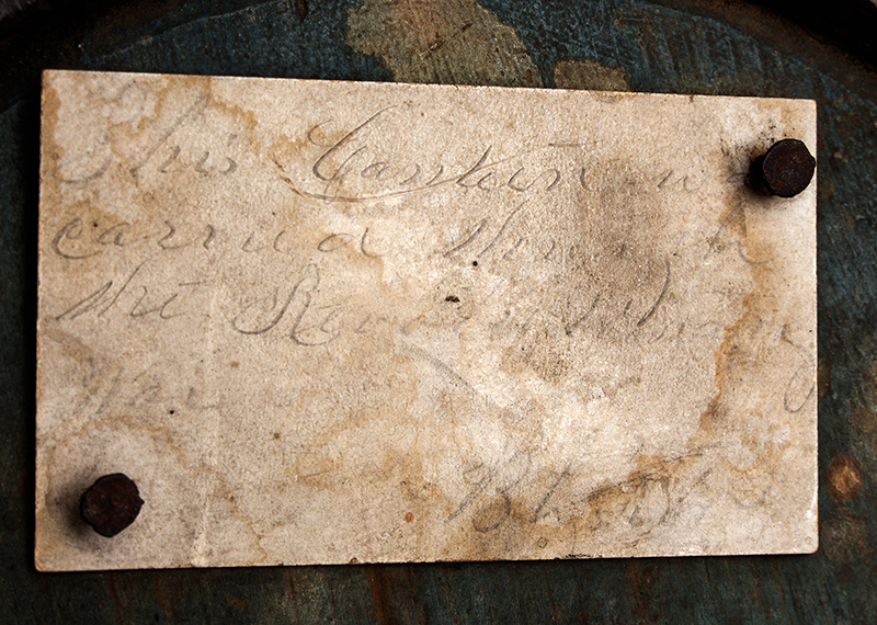 Canteen, War of 1812, Stave Drum Type, Impressed & Incised, Blue  American, pine, detail view 2