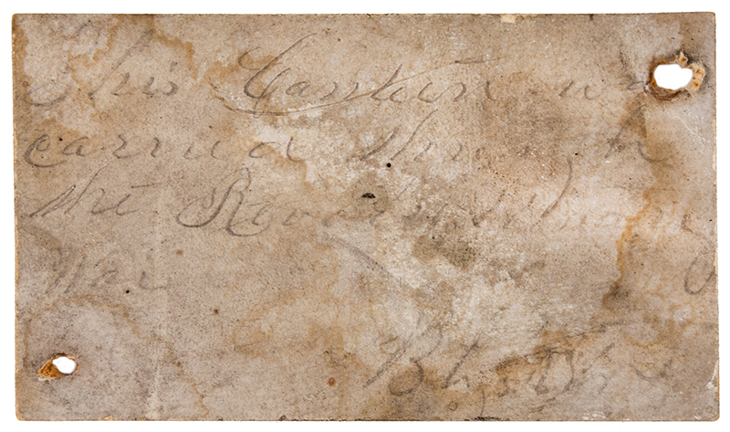 Canteen, War of 1812, Stave Drum Type, Impressed & Incised, Blue  American, pine, label detail 1