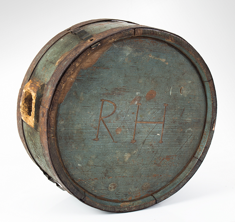 Canteen, War of 1812, Stave Drum Type, Impressed & Incised, Blue  American, pine, entire view 1