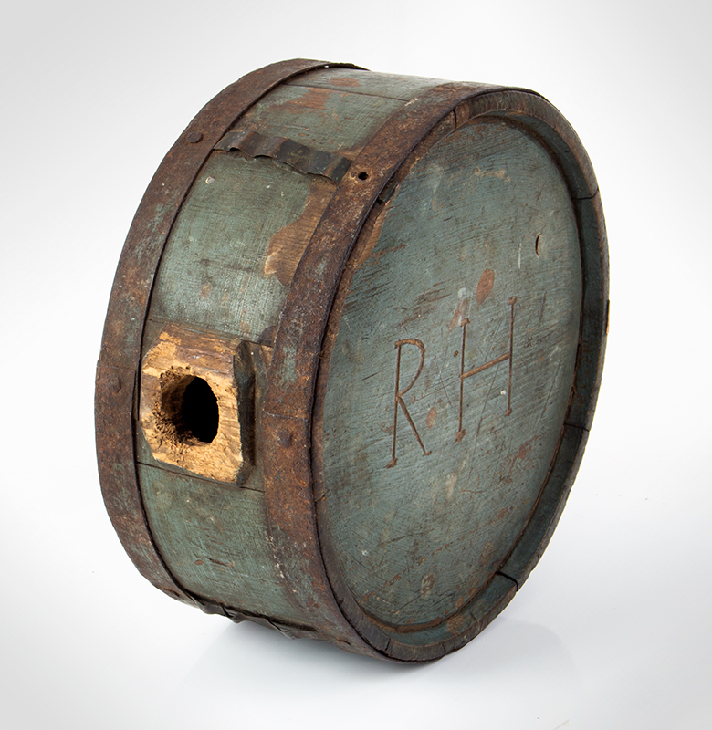 Canteen, War of 1812, Stave Drum Type, Impressed & Incised, Blue  American, pine, entire view 2