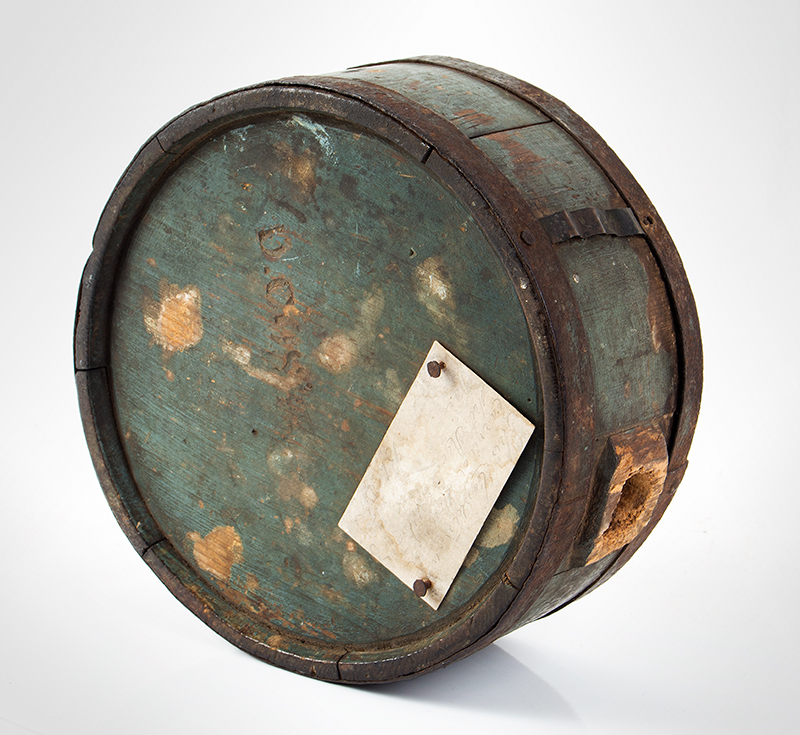 Canteen, War of 1812, Stave Drum Type, Impressed & Incised, Blue  American, pine, entire view 3