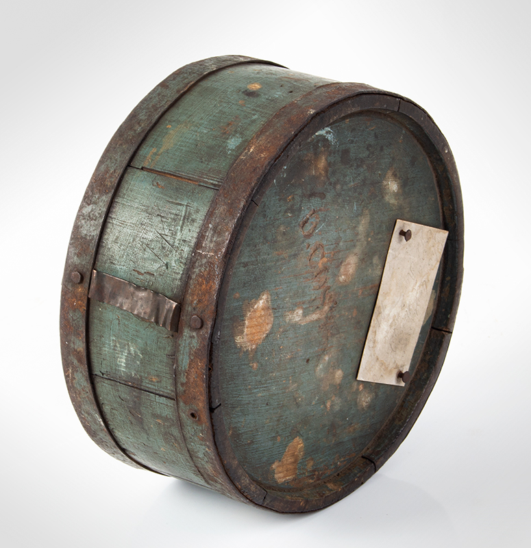Canteen, War of 1812, Stave Drum Type, Impressed & Incised, Blue  American, pine, entire view 4