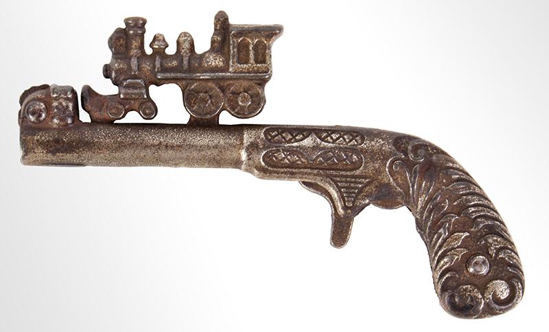 Cast Iron Cap Gun with Locomotive, entire view
