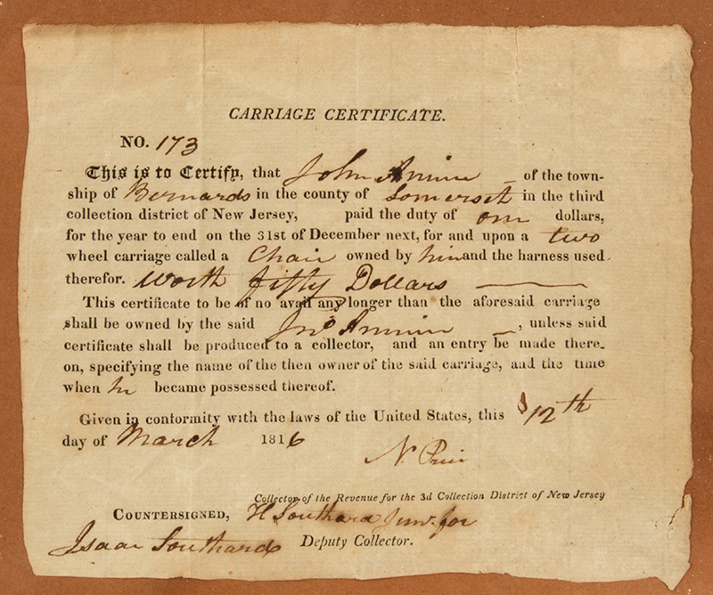 TAXes WAR FUNDING: Partially Printed. Carriage Certificate 1816 New Jersey #173' Dated 12 Mar 1816 Township of Bernards, County of Somerset, State of NJ, document detail