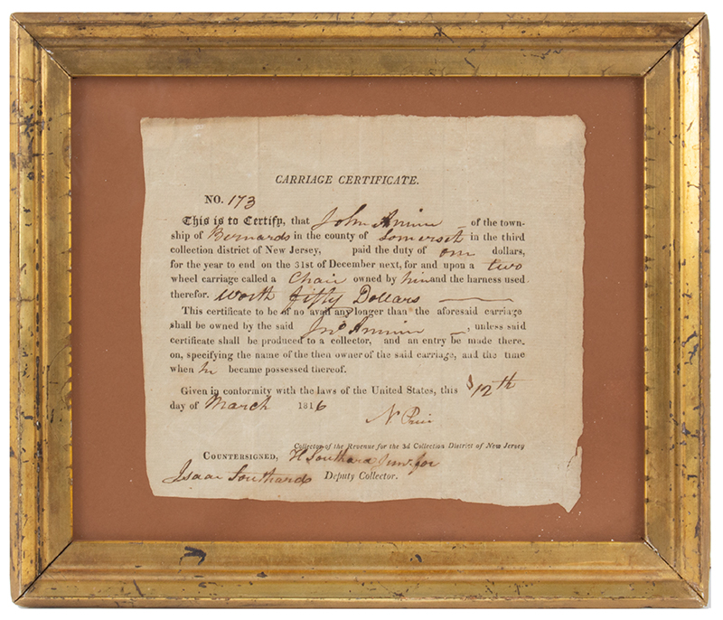 TAXes WAR FUNDING: Partially Printed. Carriage Certificate 1816 New Jersey #173' Dated 12 Mar 1816 Township of Bernards, County of Somerset, State of NJ, entire view