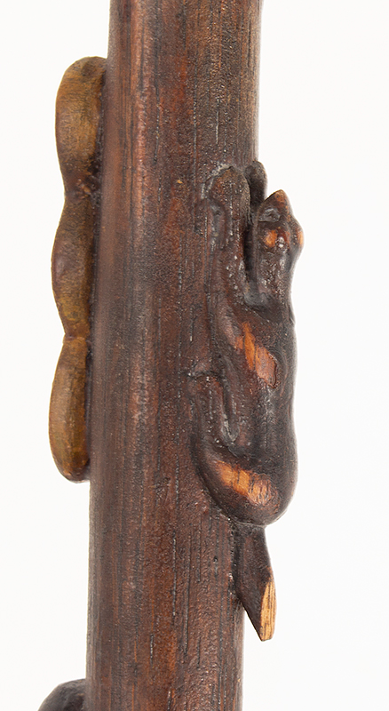 Antique Walking Stick, Folk Art Carved, Painted & Stained Unknown maker, circa 1900-1940, detail 4