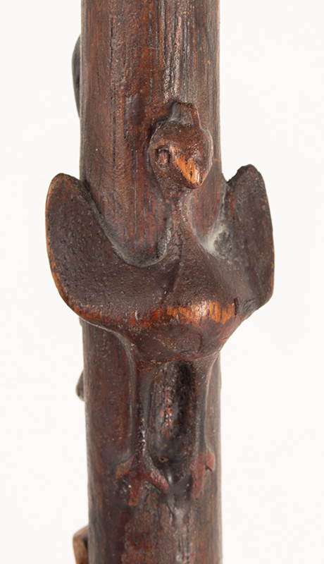 Antique Walking Stick, Folk Art Carved, Painted & Stained Unknown maker, circa 1900-1940, detail 7