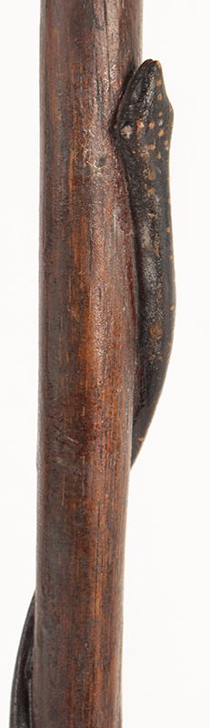 Antique Walking Stick, Folk Art Carved, Painted & Stained Unknown maker, circa 1900-1940, detail 8