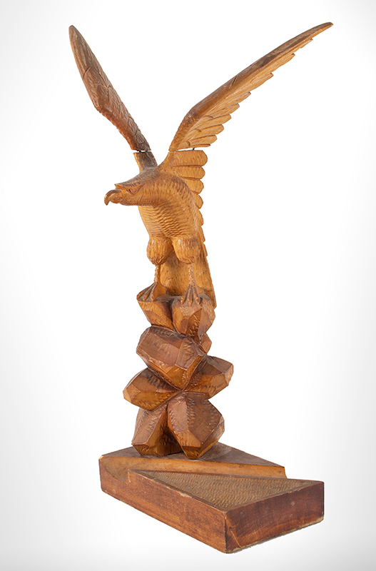 Vintage Eagle Carved Pen & Paperclip Desk Stand Anonymous, angle view