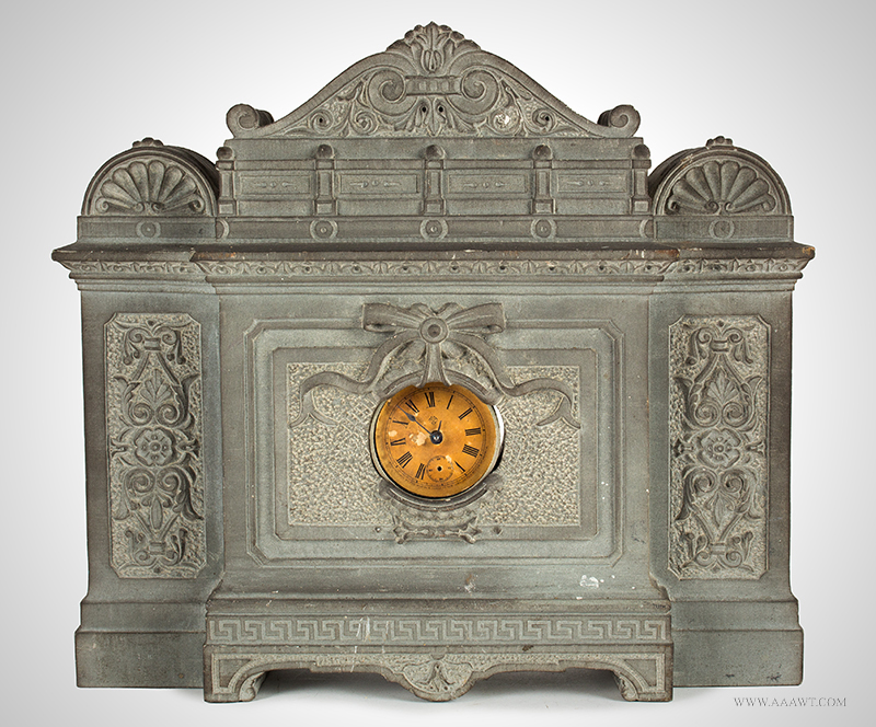 Carved Granite Mantle Clock, Classical Architecture, Dial Bezel Surmounted w/ Bowknot, 19th C