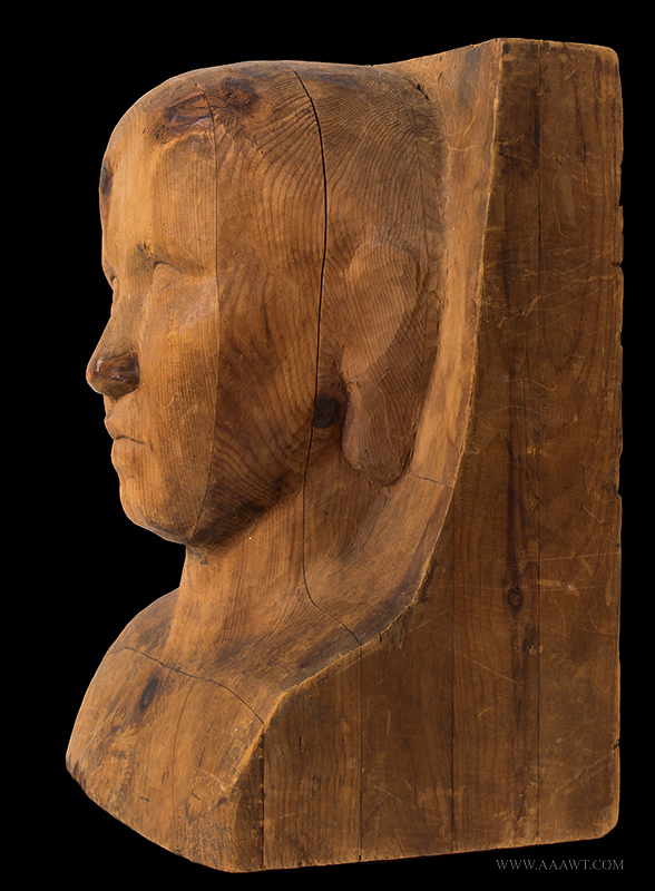 Carved Head, Folk Portrait Bust of Child Pine, late 19th view 3