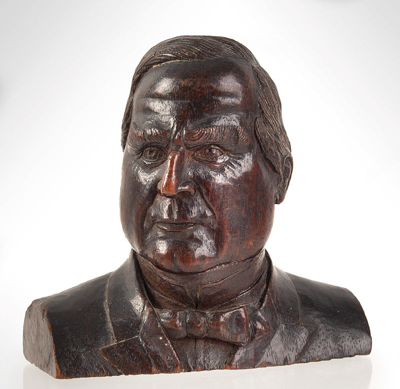 Carved Bust, President William McKinley (1843-1901) Anonymous Carver, like carved soon after assassination  25th President of U.S, 1897-1901, entire view