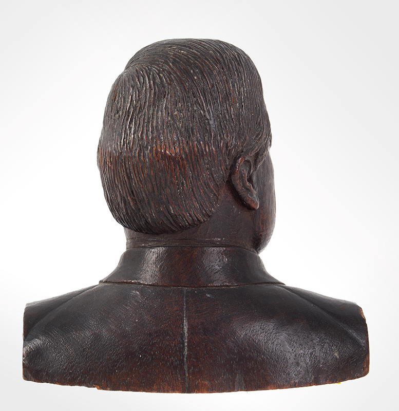 Carved Bust, President William McKinley (1843-1901) Anonymous Carver, like carved soon after assassination  25th President of U.S, 1897-1901, back view
