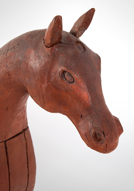 Frank Finney Carving, Horse, Folk Art Virginia, after 1950 Pieced and carved wood, leather, and original paint, head view