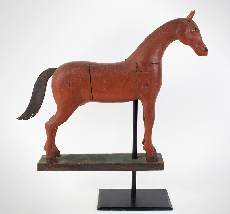 Frank Finney Carving, Horse, Folk Art Virginia, after 1950 Pieced and carved wood, leather, and original paint, entire view 1