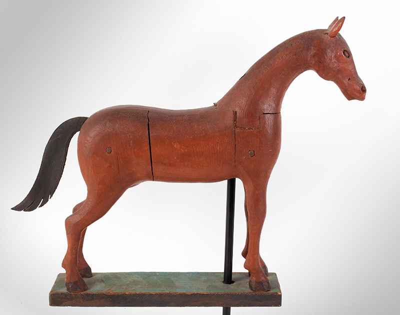 Frank Finney Carving, Horse, Folk Art Virginia, after 1950 Pieced and carved wood, leather, and original paint, entire view 2