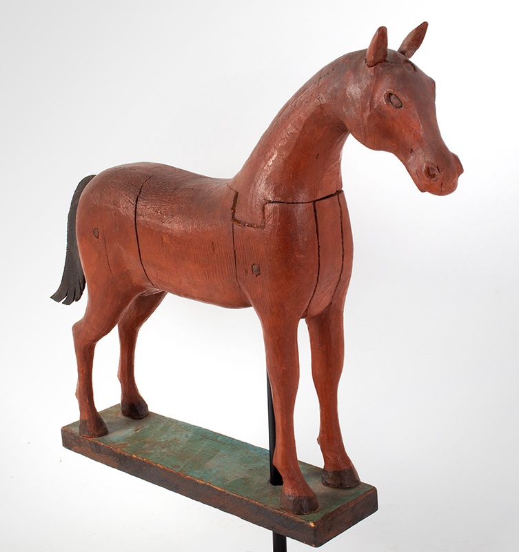 Frank Finney Carving, Horse, Folk Art Virginia, after 1950 Pieced and carved wood, leather, and original paint, entire view 3
