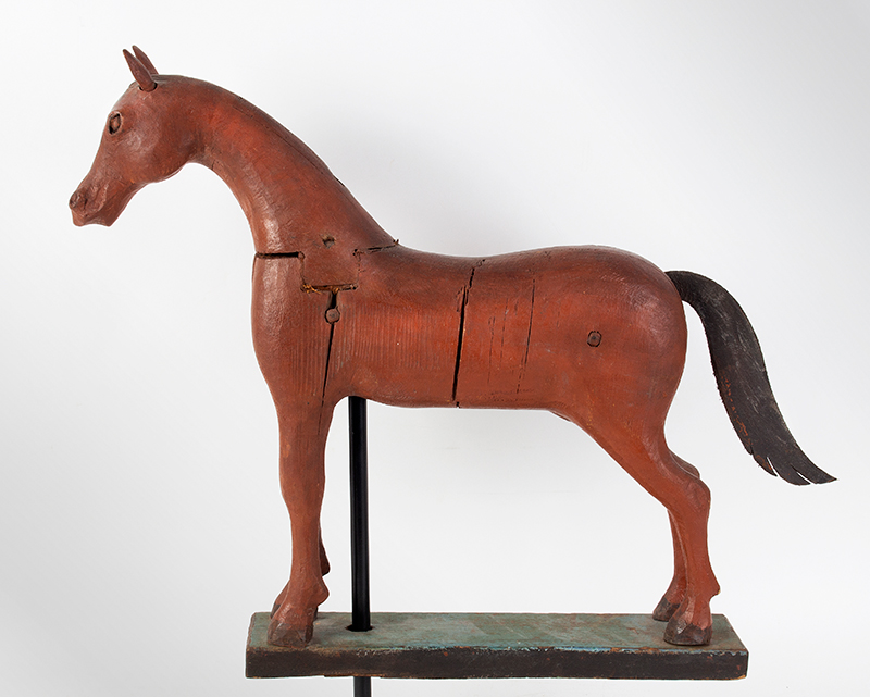 Frank Finney Carving, Horse, Folk Art Virginia, after 1950 Pieced and carved wood, leather, and original paint, entire view 4
