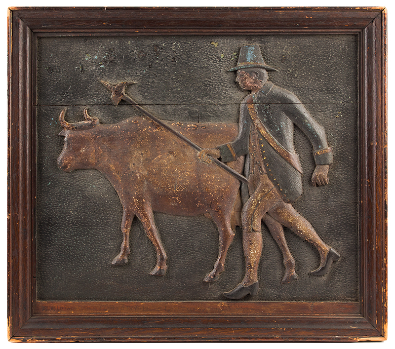 Carved & Polychrome Panel Depicting 17th/18th Century Colonial Man Tending Ox