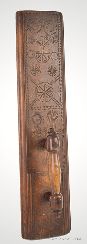 Antique Molded and Carved Mangle Board, Dated 1751, angle view 1