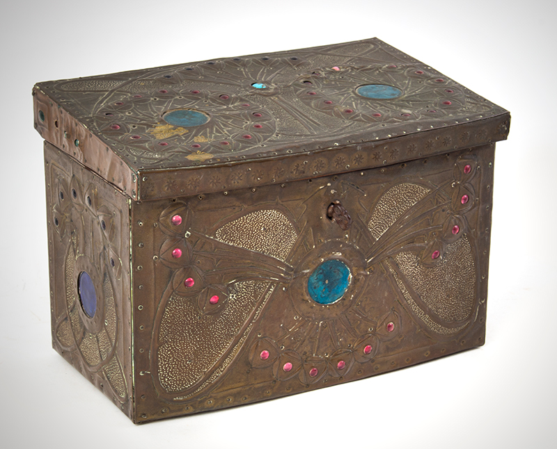 "Alfred Daguet Jeweled Cabochon Box, French Art Nouveau  Alfred-Louis-Achille Daguet, Paris (1875 - 1942) The box signed on base, ""Alfred Daguet, Paris 1909"" Copper, wood, glass, and enamel; velvet interior, entire view 1"