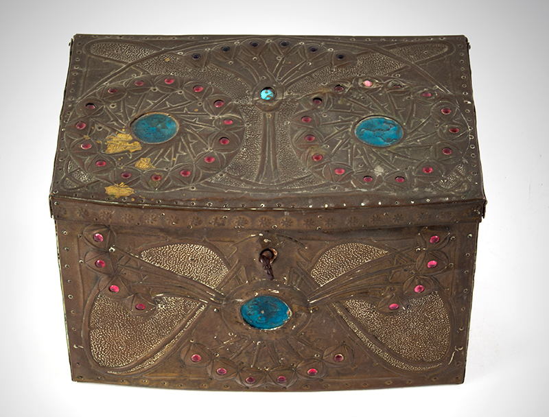"Alfred Daguet Jeweled Cabochon Box, French Art Nouveau  Alfred-Louis-Achille Daguet, Paris (1875 - 1942) The box signed on base, ""Alfred Daguet, Paris 1909"" Copper, wood, glass, and enamel; velvet interior, entire view 2"