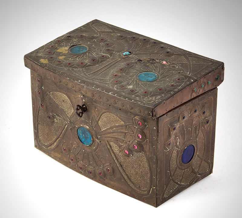 "Alfred Daguet Jeweled Cabochon Box, French Art Nouveau  Alfred-Louis-Achille Daguet, Paris (1875 - 1942) The box signed on base, ""Alfred Daguet, Paris 1909"" Copper, wood, glass, and enamel; velvet interior, entire view 3"