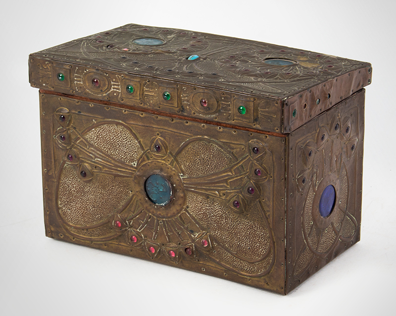 "Alfred Daguet Jeweled Cabochon Box, French Art Nouveau  Alfred-Louis-Achille Daguet, Paris (1875 - 1942) The box signed on base, ""Alfred Daguet, Paris 1909"" Copper, wood, glass, and enamel; velvet interior, entire view 4"