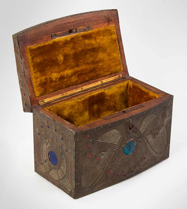 "Alfred Daguet Jeweled Cabochon Box, French Art Nouveau  Alfred-Louis-Achille Daguet, Paris (1875 - 1942) The box signed on base, ""Alfred Daguet, Paris 1909"" Copper, wood, glass, and enamel; velvet interior, entire view 5"