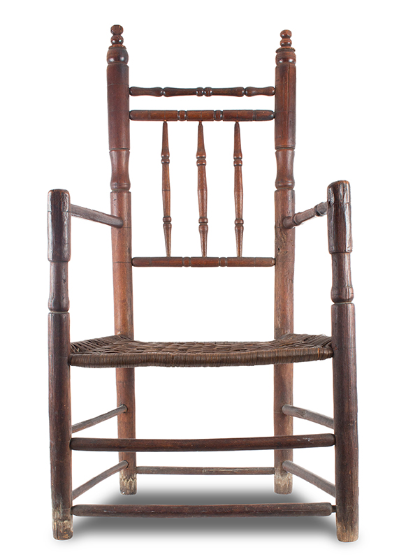 Pilgrim Century Carver Armchair, Turned Great Chair, Spindle Back Eastern Massachusetts, Perhaps Boston, Suffolk County, entire view 1