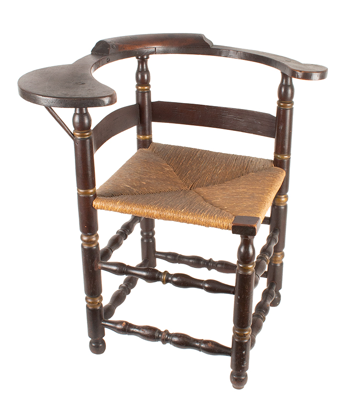 Antique Corner Chair, Roundabout Chair with Paddle Arm, Ball Feet 