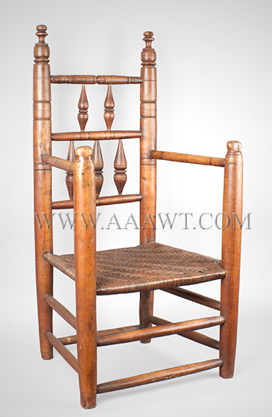 Pilgrim Century Armchair, Great Chair Probably Massachusetts, Carver Type Circa 1690 to 1720 Maple, angle view