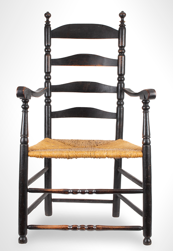 Black Painted Ladderback Armchair, Bulbous Turned Finials and Arched Slats