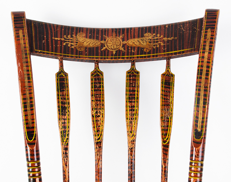 Antique Windsor Side Chair, Paint Decorated America, Hitchcock Type, circa 1825-1840 Outstanding Painted Decoration, detail view 1