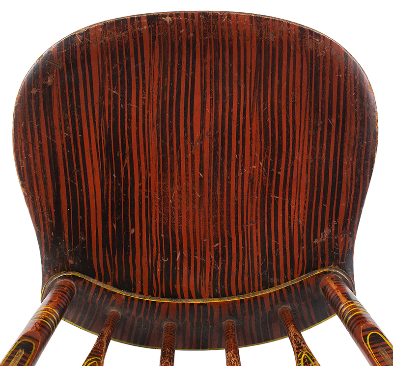 Antique Windsor Side Chair, Paint Decorated America, Hitchcock Type, circa 1825-1840 Outstanding Painted Decoration, seat view
