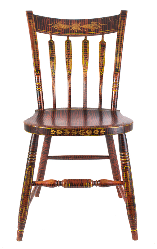 Antique Windsor Side Chair, Paint Decorated America, Hitchcock Type, circa 1825-1840 Outstanding Painted Decoration, entire view 1