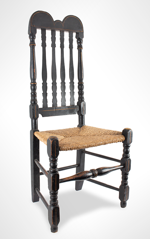 William and Mary Banister Back Side Chair, Eastern Massachusetts, 1730-1790 Maple, very old black paint Stylistically, this chair may be assigned to Boston and Plymouth shop traditions, entire view 2