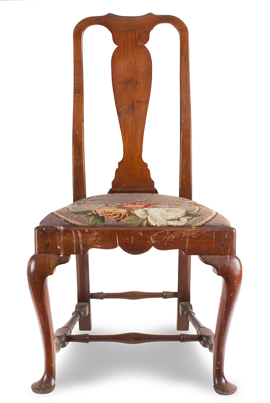 Queen Anne Maple Side Chair with Embroidered Seat Rhode Island, circa 1730 – 1760, entire view
