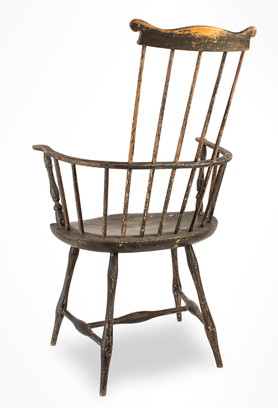 Antique Windsor Chair, Comb-Back Armchair, Fan-Back, High-Back Possibly Vermont, Circa 1790-1810, entire view 1