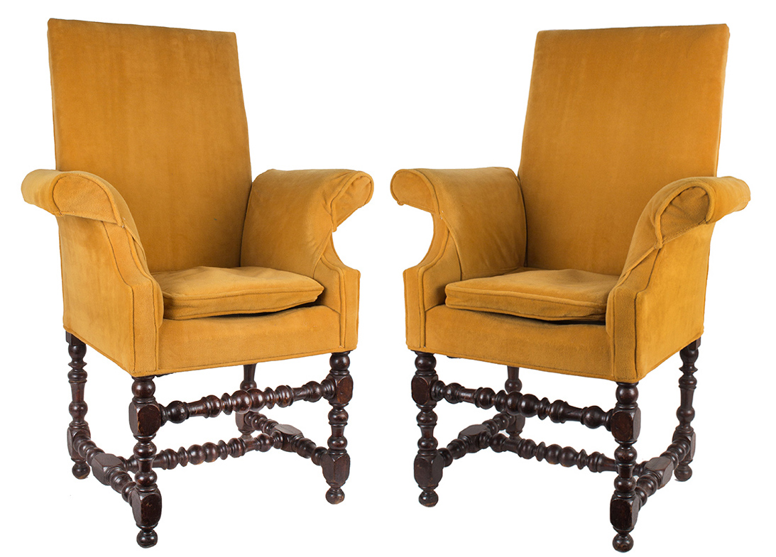 Pair of Diminutive Upholstered Armchairs,