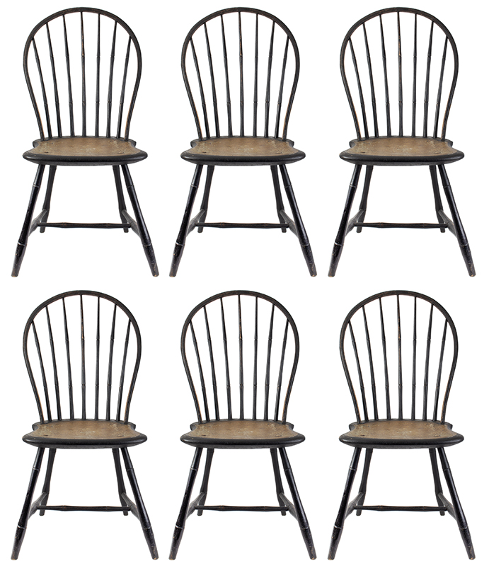 Windsor Bow Back Side Chairs, Matched Set of Six, Painted Surface New England, circa 1810 A fine and functional set for everyday use…, set view
