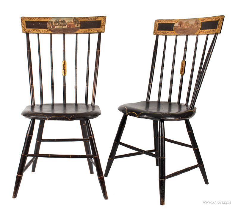 Pair of Paint Decorated Windsor Tablet-Back Chairs, Likely Baltimore Area, Circa 1825, entire view